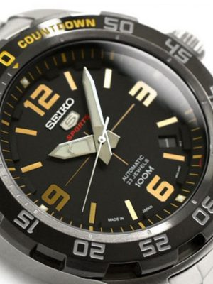 Seiko | Seiko 5 Sports Black & Gold w/ Countdown (Gents)