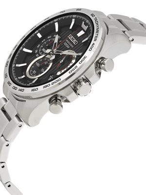 Seiko | Chronograph Black & Red w/ Tachymeter (Gents)