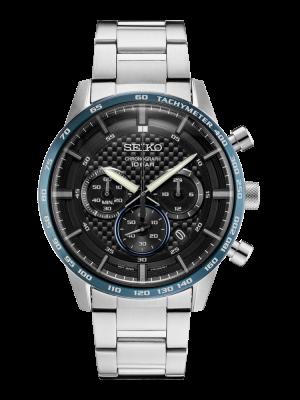 Seiko | Chronograph Black & Blue Bezel (Gents)