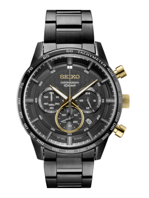 Seiko | Chronograph Black & Gold (Gents)