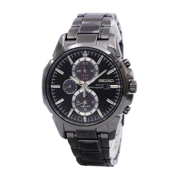 Seiko | Solar Chronograph Dual Time Black IP (Gents)
