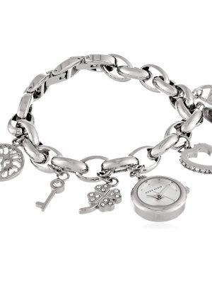 ANNE KLEIN Silver Dial Silver Tone Charm Bracelet Ladies Watch (10/7605CHRM)