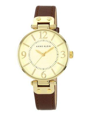 Anne Klein Dial Leather Strap Watch (10/9168IVBN)