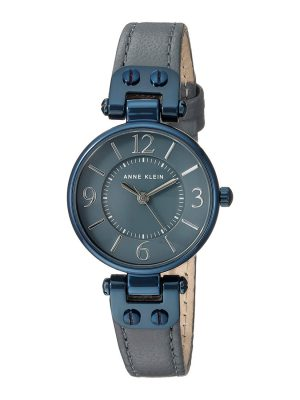 Anne Klein Blue and Grey Leather Strap Ladies Watch (10/9443GYBL)
