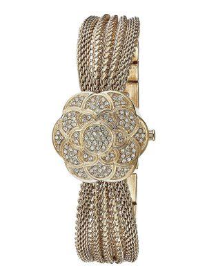 Anne Klein Swarovski Crystal Accented Gold-Tone Covered Dial Mesh Bracelet Watch (AK/1046CHCV)