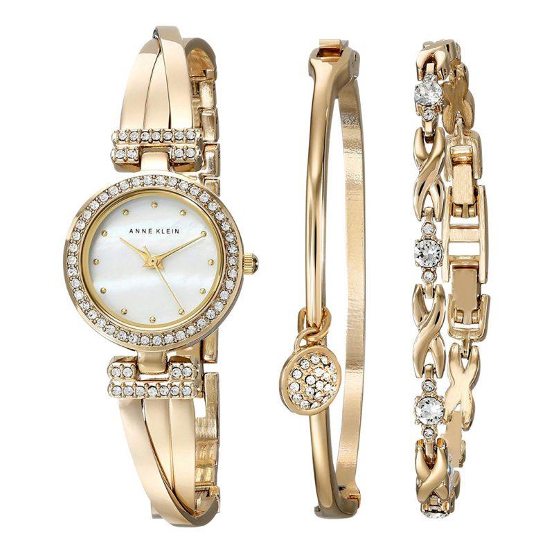 ANNE KLEIN Mother of Pearl Dial Ladies Watch and Bracelet Set (AK/1868GBST)