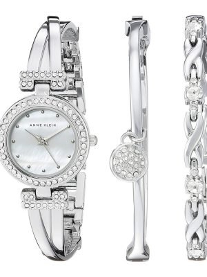 Anne Klein Women's AK-1869SVST Silver Metal Analog Quartz Fashion Watch