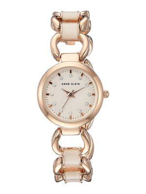 ANNE KLEIN Quartz Crystal White Mother of Pearl Dial Ladies Watch (AK/1952RGST)