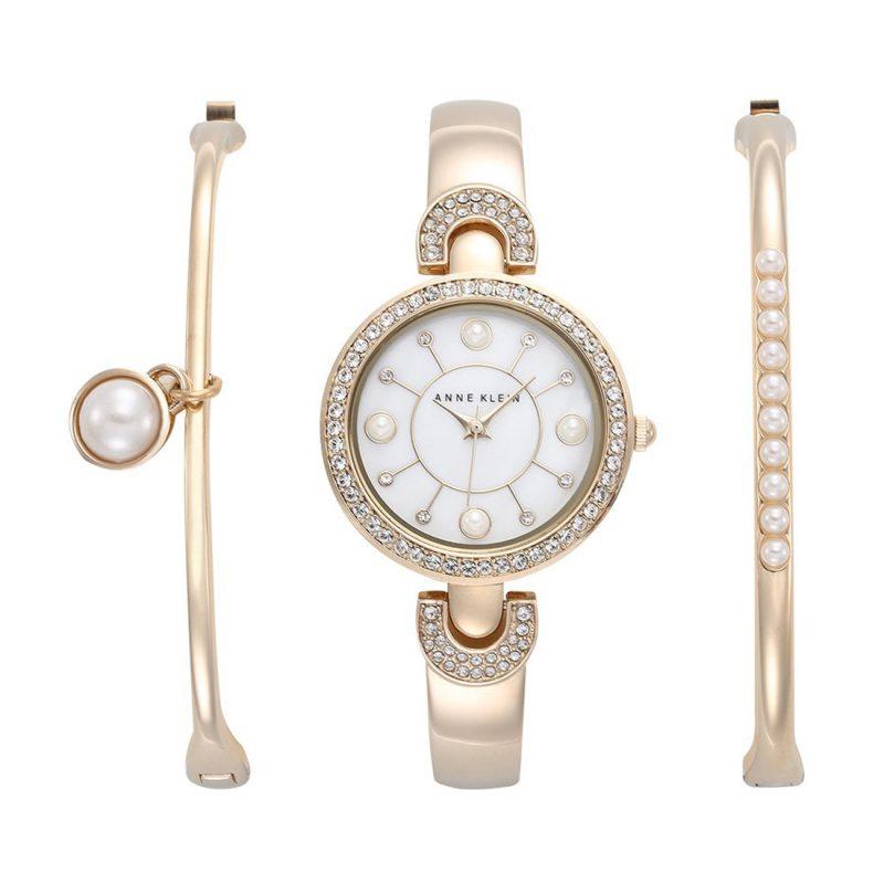 Anne Klein Swarovski Crystal-Accented Bangle Ladies Watch and Bracelet Set (AK/1960GBST)