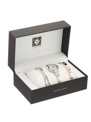 ANNE KLEIN Mother of Pearl Ladies Watch and Bracelet Set (AK/2245RTST)