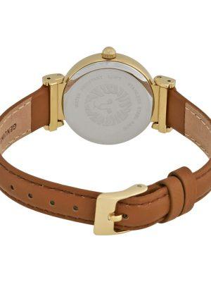 Anne Klein Gold-Tone and Honey Leather Strap Ladies Watch (AK/2246CRHY)