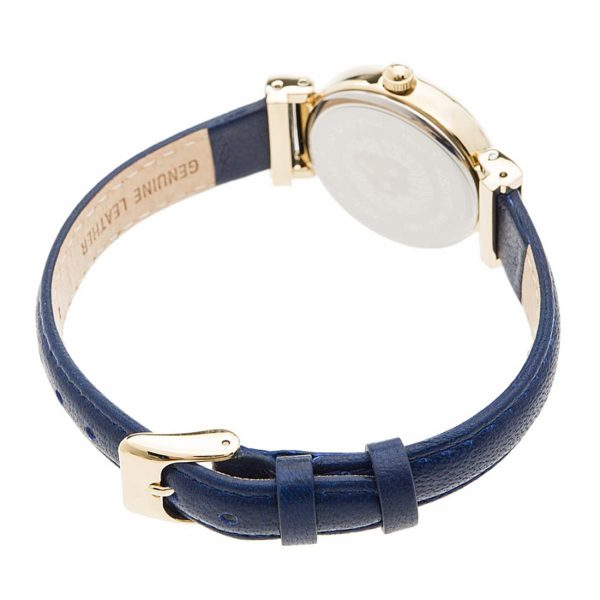 Anne Klein Gold-Tone and Navy Blue Leather Strap Ladies Watch (AK/2246CRNV)