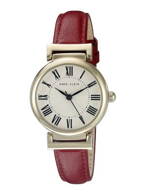 Anne Klein Gold-Tone and Red Leather Strap Ladies Watch (AK/2246CRRD)
