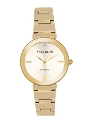 Anne Klein Diamond-Accented Bracelet Ladies Watch (AK/2434CHGB)