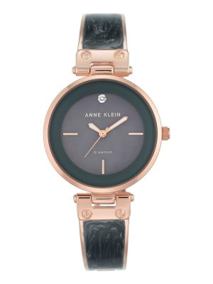 Anne Klein Diamond-Accented Dial Bangle Ladies Watch (AK/2512GYRG)