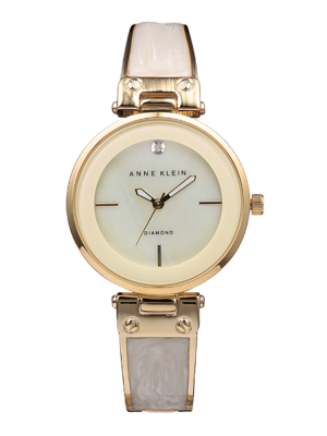 Anne Klein Diamond-Accented Dial Bangle Ladies Watch (AK/2512IVGB)