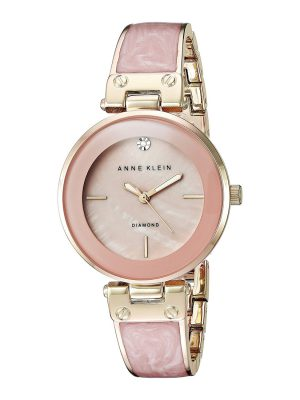 Anne Klein Diamond-Accented Dial Bangle Ladies Watch (AK/2512LPGB)