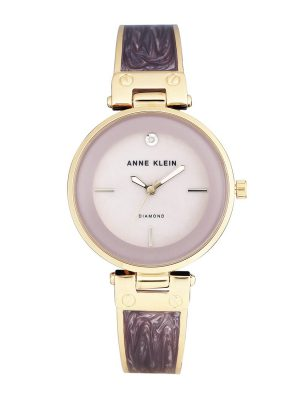 Anne Klein Diamond-Accented Gold-Tone and Light Lavender Marbleized Bangle Ladies Watch (AK/2512LVGB)