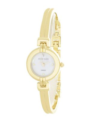 Anne Klein Pearl Dial Gold Tone Bangle Bracelet Ladies Watch (AK/2550MPGB)