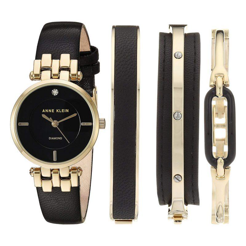Anne Klein Gold Leather Quartz Fashion Ladies Watch (AK/2684BKST)