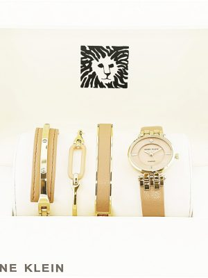 Anne Klein Diamond-Accented Gold-Tone and Dark Tan Leather Strap Ladies Watch and Bracelet Set (AK/2684DTST)