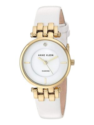 Anne Klein Diamond-Accented and Leather Strap Ladies Watch and Bangle Set (AK/2684WTST)
