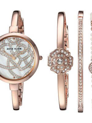 Anne Klein Swarovski Crystal Accented Rose Gold-Tone Bangle Ladies Watch and Bracelet Set (AK/3080RGST)