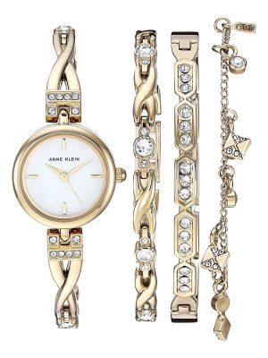 ANNE KLEIN White Dial Ladies Watch Set (AK/3082GPST)
