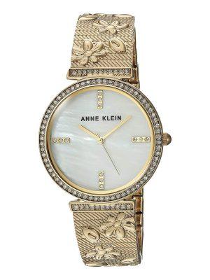 ANNE KLEIN Swarovski Crystals White Mother of Pearl Dial Ladies Watch (AK/3146MPGB)