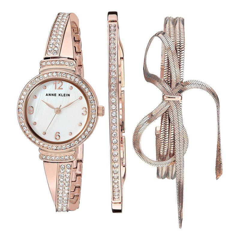 ANNE KLEIN Quartz Mother of Pearl Dial Ladies Watch and Bracelet Set (AK/3256RGST)