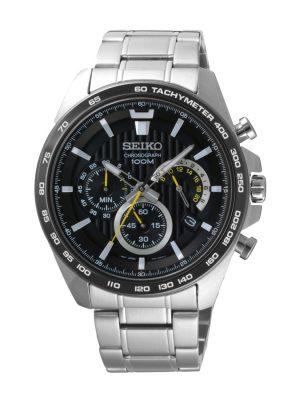 Seiko | Chronograph Black & Yellow w/ Tachymeter (Gents)