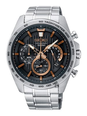 Seiko | Chronograph Black & Rose Gold w/ Tachymeter (Gents)