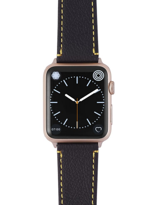 Happy Straps | Aquarium Collection Anthrazit Gelb - Apple Watch Leather Strap