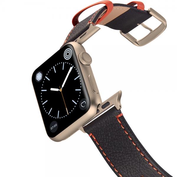 Happy Straps | Aquarium Collection Anthrazit Orange - Apple Watch Leather Strap