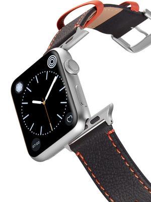 Happy Straps | Aquarium Collection Anthrazit Orange - Apple Watch Leather Strap