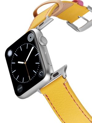 Happy Straps | Aquarium Collection Gelb Pink - Apple Watch Leather Strap